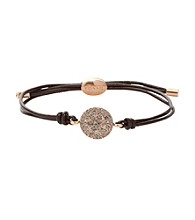 Fossil® Hematite and Chocolate Pave Disk Wrist Wrap