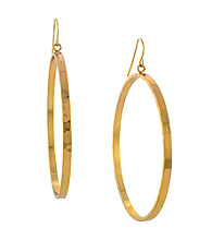 BCBGeneration™ Hammered Drop Hoop Earrings
