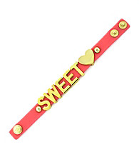 BCBGeneration™ Goldtone and Red Sweet Heart Rubber Affirmation Bracelet