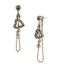 Betsey Johnson® Goldtone Heart and Arrow Chain Linear Earrings