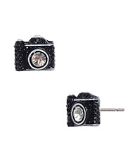 Betsey Johnson® Black Camera Stud Earrings