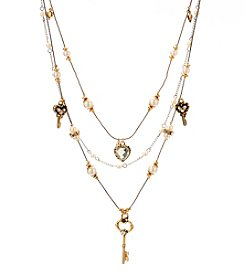 Betsey Johnson® Pearl Crystal Heart and Key Illusion Necklace