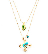 Betsey Johnson® Blue Frog and Leaf Two Row Necklace