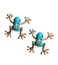 Betsey Johnson® Blue Frog Stud Earrings