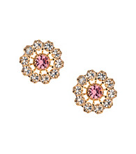 Betsey Johnson® Pink Crystal Stud Earrings