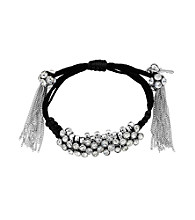 Betsey Johnson® Crystal Black Crystal Wrapped Adjustable Bracelet