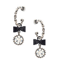 Betsey Johnson® Crystal and Bow Small Hoop Earrings