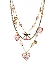 Betsey Johnson® Pink Lucite Heart Illusion Necklace