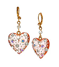 Betsey Johnson® Pink Crystal Lucite Heart Drop Earrings
