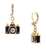 Betsey Johnson® Black Camera Drop Earrings