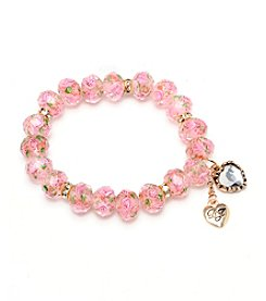 Betsey Johnson® Pink Crystal Flower Bead Stretch Bracelet