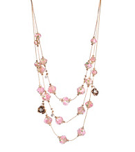Betsey Johnson® Pink Crystal Flower Bead Illusion Necklace
