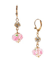 Betsey Johnson® Pink Crystal Flower Bead Drop Earrings