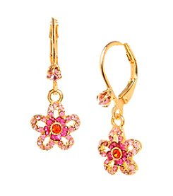 Betsey Johnson® Pink Crystal Crystal Flower Drop Earrings