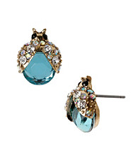 Betsey Johnson® Blue Bug Stud Earrings