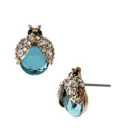 Betsey Johnson® Blue Bug Stud Earrings