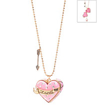 Betsey Johnson® Pink Crystal Love Heart Pendant Necklace