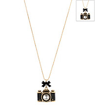 Betsy Johnson® Black Camera Pendant Necklace