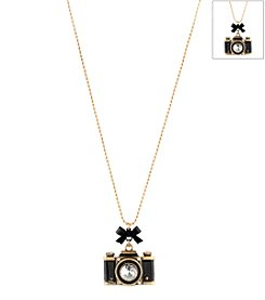 Betsey Johnson® Black Camera Pendant Necklace