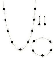 .925 Sterling Silver Black Onyx Set