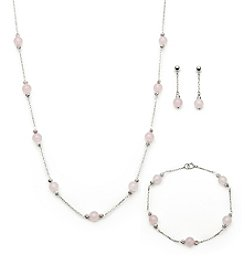 .925 Sterling Silver Rose Quartz Set