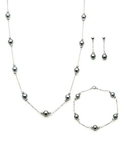 .925 Sterling Silver Grey Fresh Water Pearl Set