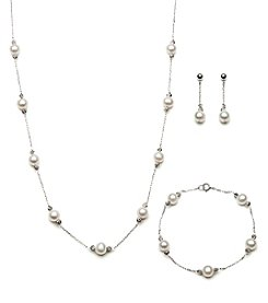 .925 Sterling Silver Fresh Water Pearl White Set