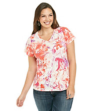 Relativity® Plus Size Casual V-neck Tee