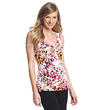 Relativity® Career Pleatneck Print Tank