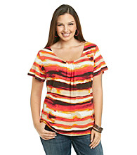 Relativity® Career Plus Size Pleatneck Print Tee