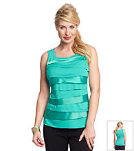 Relativity® Career Petites' Horizontal Tiers Tank