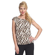 Relativity® Career Ruched Scoopneck Banded Bottom Top