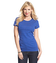Relativity® Stripe Short Sleeve Crewneck