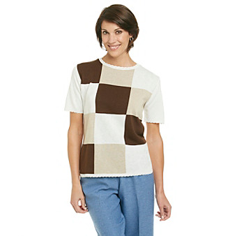 Alfred Dunner® St. Regis Brown Block Sweater