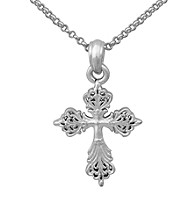 Aluminum Basketweave Cross Pendant On Rolo Chain