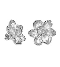 Aluminum Post Magnolia Flower Stud Earrings