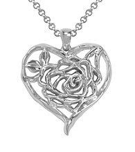 Aluminum Rose Heart Pendant On Rolo Chain