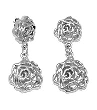 Aluminum Post Rose Earrings