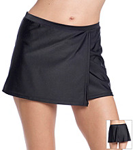 Relativity® Black Solid Wrap Skirt Swimwear Bottom