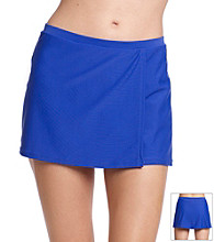 Relativity® Blue Solid Wrap Skirt Swimwear Bottom
