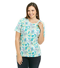 Studio Works® Plus Size Flower Knit Top