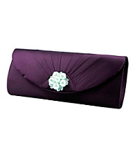 Jessica McClintock® Pleated Flap Clutch with Faux Pearl and Rhinestone Broach