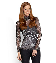 Karen Kane® Peacock Mesh Turtleneck