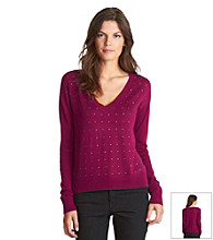 Kenneth Cole® Studded Deep V-neck Sweater