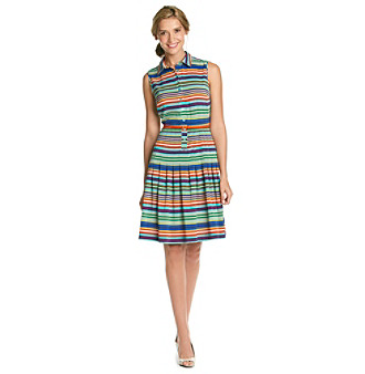 Calvin Klein Striped Belted Dress