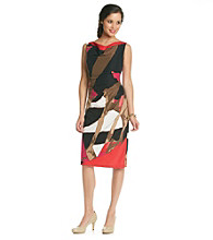 Anne Klein® Side Pleat Printed Sheath Dress
