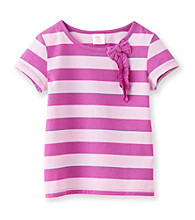 Little Miss Attitude Girls' 2T-6X Striped Self Bow Tee