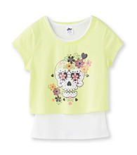 Miss Attitude Girls' 7-16 Neon Yellow Skull Print Pop-Over Top