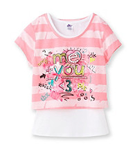Miss Attitude Girls' 7-16 Pink Striped Grafitti Pop-Over Top