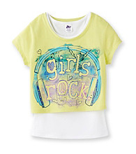 Miss Attitude Girls' 7-16 Lime Green Girls Rock Pop-Over Top